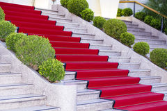 Stairs covered with red carpet in Sanremo ,Italy Stock Photos