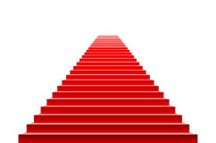 Stairs covered with red carpet. Scene illuminated by a spotlight Stock Images