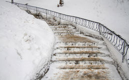 Stairs covered by snow Stock Photo