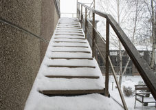 Stairs covered with snow Royalty Free Stock Photo