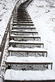 Stairs Covered Snow Leading Steep Hill Winter Royalty Free Stock Photography