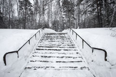 The stairs are covered in snow Stock Photos