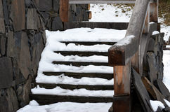 Stairs covered by snow Stock Photos