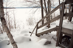 Stairs covered with snow Stock Photography