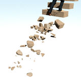 Stairs crumbling under weight Royalty Free Stock Images