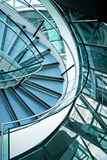 Stairs curve. Big office building stairway curve with windows Royalty Free Stock Images