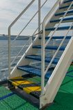 Stairs on the deck of a ferry boat stock photos