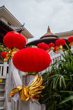 Stairs are decorated with Chinese lanterns Royalty Free Stock Image