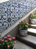 Stairs decorated with flowers. Staira decorated with flower pots Stock Photos