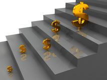 Stairs and dollar signs Royalty Free Stock Images