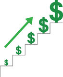 Stairs with dollars and arrow moving up Royalty Free Stock Photo