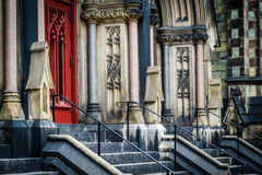 Stairs and doors of Mount Vernon Place United Methodist Church,. In Mount Vernon, Baltimore, Maryland Stock Photos