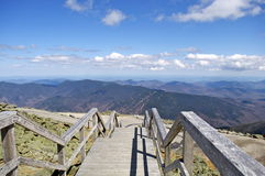 Wooden Stairs Overlooking the Mountains of New Hampshire  Royalty Free Stock Photos