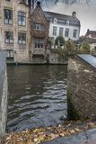 Stairs down to the Groenerei canal Bruges Stock Photography