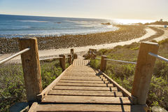 Stairs down to the ocean in Malibu. California Coast Royalty Free Stock Photography