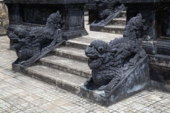 Stairs and dragons in Imperial Khai Dinh Tomb in Hue, Vietnam stock images
