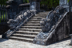 Stairs and dragons in Imperial Khai Dinh Tomb in Hue,  Vietnam Royalty Free Stock Photo