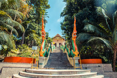 Stairs with dragons to the Thai temple. Wat Patong Suwankeereewong Temple Phuket, Thailand. Stock Image