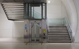 Stairs and elevator. Royalty Free Stock Photo