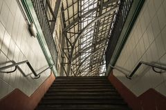 Stairs at the entrance / exit of a metro. royalty free stock photography
