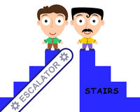 Stairs and escalator. Two men on top of an escalator and stairs royalty free illustration
