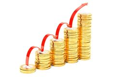 Stairs from euro coins with growth red arrow, 3D rendering. Isolated on white background Stock Photos