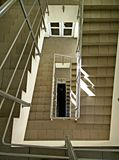 Stairs. Exit, staircase, business, office, floor, building, high view look emergency architecture modern floor door down Stock Image
