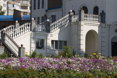 Stairs and flowers. At the building Stock Image