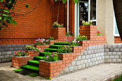 Stairs with flowers Royalty Free Stock Images