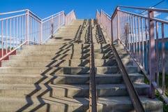 Stairs footbridge over the railway Stock Image