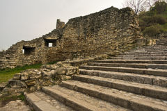 Stairs and fortress wall ruins at Kalemegdan fortress in Belgrade Royalty Free Stock Images