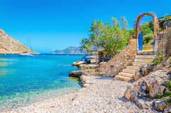 Stairs From Sandy Beach On Greece Island Kalymnos Stock Photography