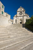 Stairs in front of the St.James cathedral. Stairs leading to the St.James cathedral in Sibenik, listed in the UNESCO world heritage, built in medival entirely of stock photo