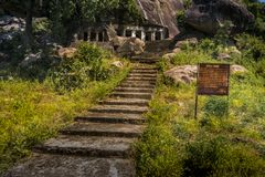 Stairs at Ganesh Mada, Madhya Pradesh, India stock images