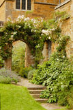 Stairs into the garden into Medieval castle Stock Images