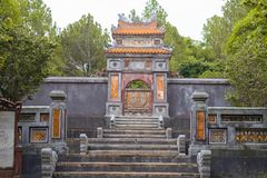 Stairs and gate leading to Tu Duc emperor tomb in Hue Vietnam. Stairs and gate leading to Tu Duc emperor tomb in Hue in Vietnam royalty free stock photos