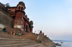 Stairs of Ghat a place for cremation of corpses Stock Photos