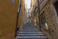 Stairs in Girona. The stairs in Girona in Spain royalty free stock photos
