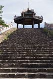 stairs that go up to a temple in the Citadel of the city of Huê in Vietnam stock photos