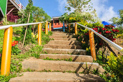 Stairs going up at hillside. Royalty Free Stock Photography
