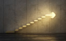 Stairs going upward. 3d rendering royalty free stock image