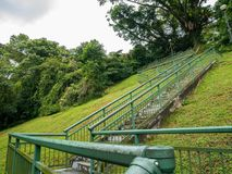 Stairs on Green Hill Towards to the Park. On the Top of the Hill Royalty Free Stock Photos