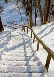 Stairs handrail steep mountain covered snow winter Stock Photos