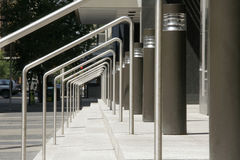 Stairs and handrails. A view of stairs and handrails at an office building Royalty Free Stock Photos