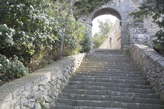 Stairs on Hill, Bonnieux Village, Provence Royalty Free Stock Images