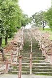 Way to 10th century Chaunsath yogini temple, jabalpur, India. Stairs on the hills of Bhedaghat to Chaunsath yogini mandir Jabalpur, India stock image