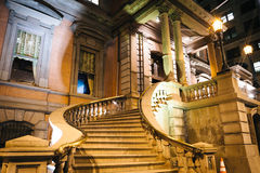Stairs of a historic building on Broad Street at night, in Phila Stock Image