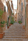Stairs at historic fornalutx Royalty Free Stock Photos