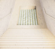 Stairs and hole with money Royalty Free Stock Photos