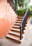 Stairs in the house. Outside the home near a garden shrubs Stock Photo